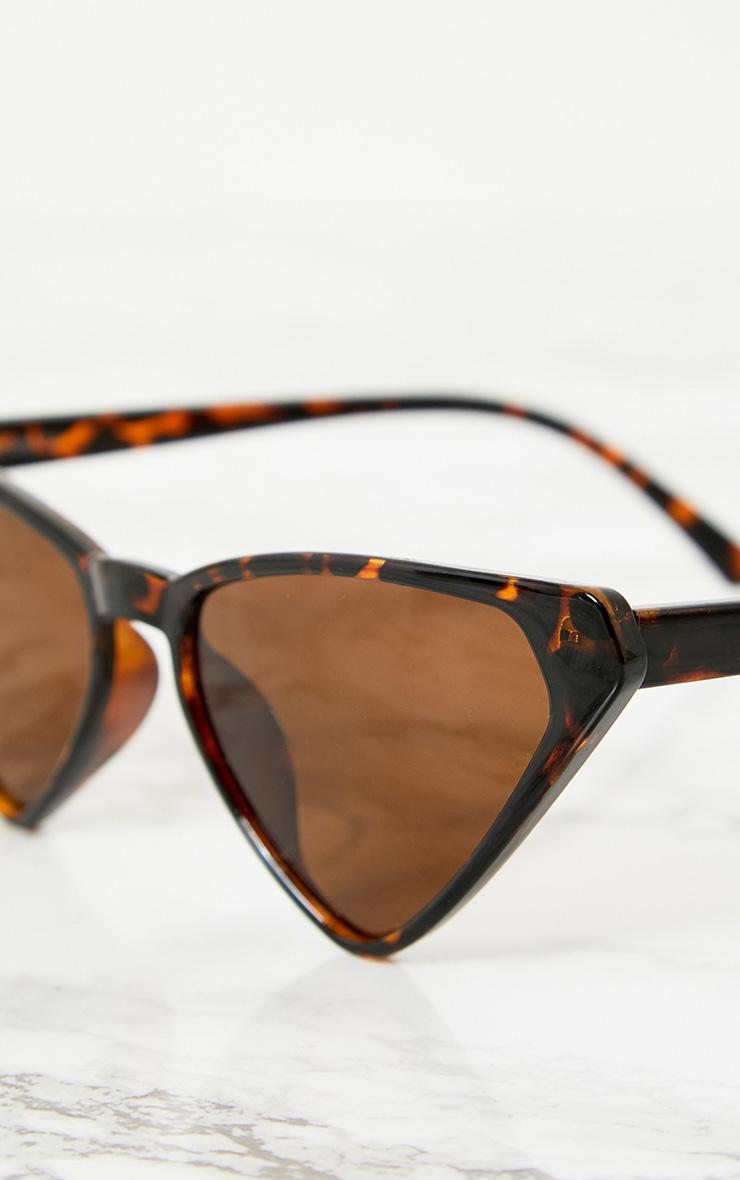 Tortoise Shell Wide Triangle Sunglasses 3