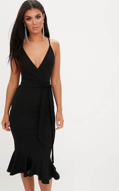 Black Strappy Tie Waist Fishtail Midi Dress