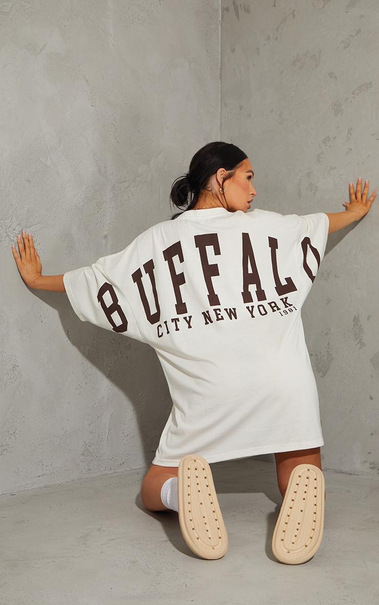 Stone Buffalo New York Slogan Short Sleeve T Shirt Dress 1