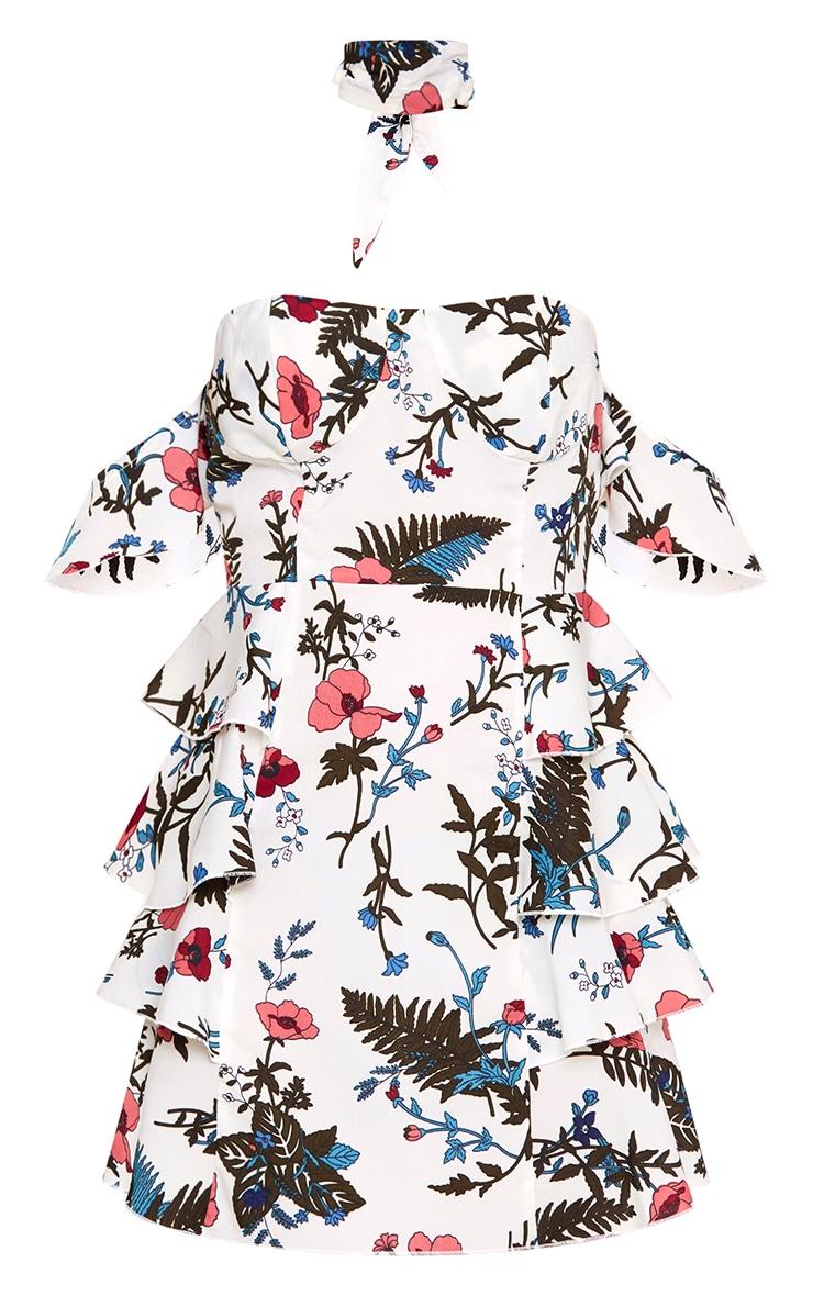 White Ruffle Layer Bardot Bodycon Dress 3