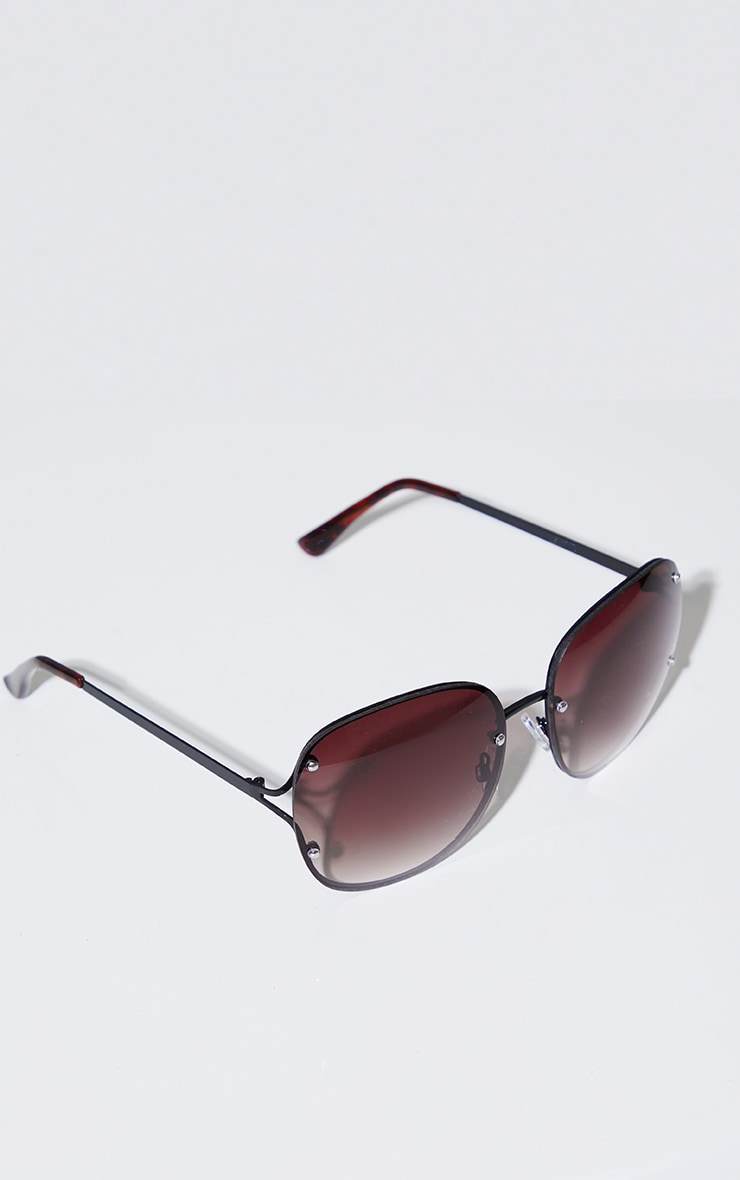 Black Rimless Oversized Rounded Sunglasses 3