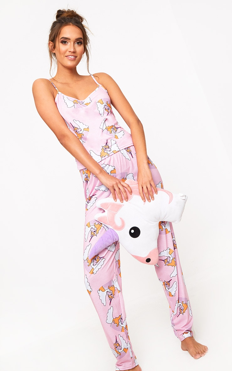 Pink Strappy Unicorn Long PJ Set  1