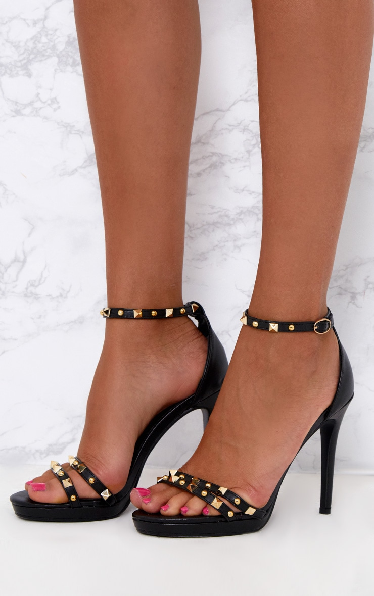 Black Studded Cross Strappy Heeled Sandals 2