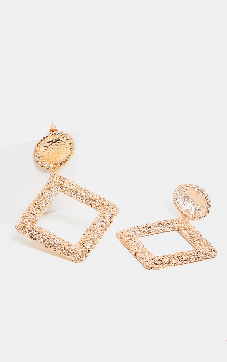 Gold Textured Diamond Door Knocker Earring 2