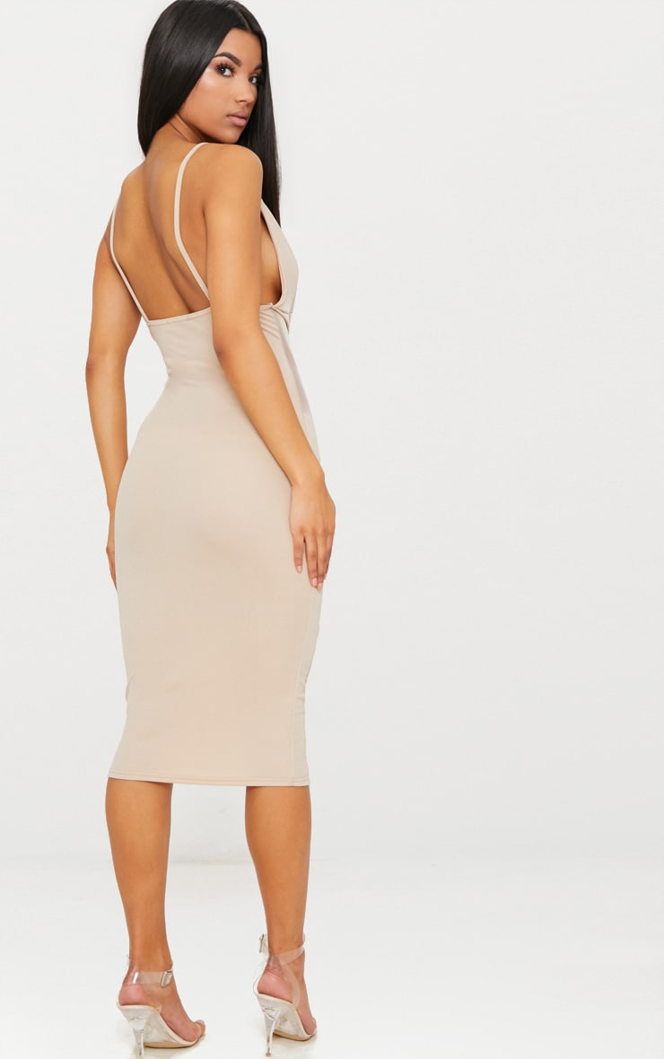 Nude Strappy Mesh Panel Midi Dress 2