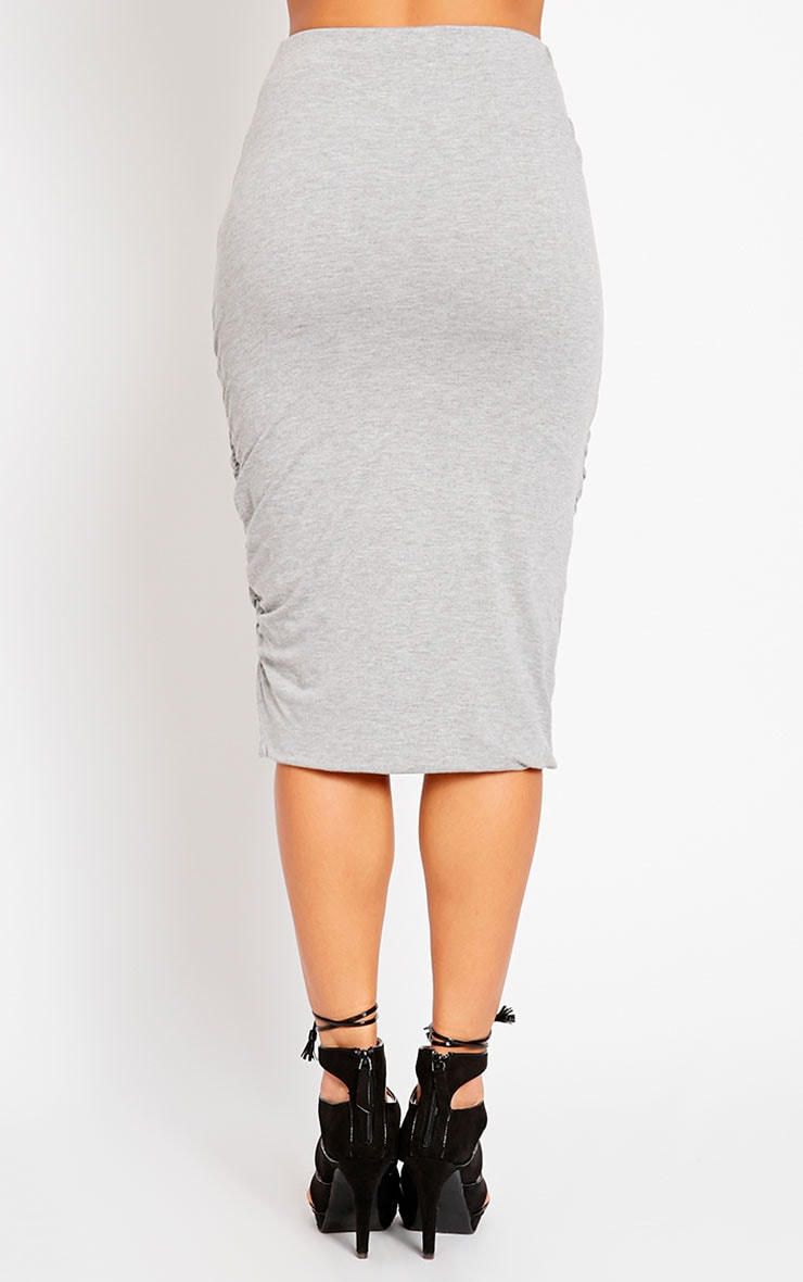 Asia Grey Jersey Ruched Midi Skirt 4