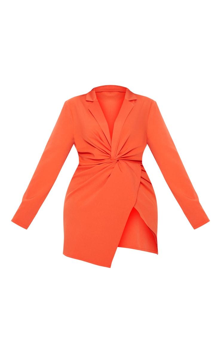 Plus Bright Orange Twist Front Shirt Dress 3