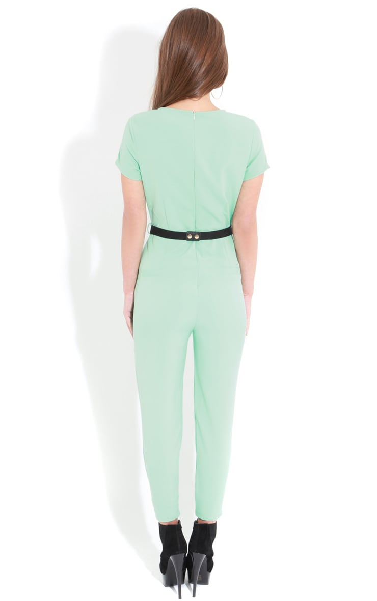 Alberta Mint Short Sleeve Belted Jumpsuit 2