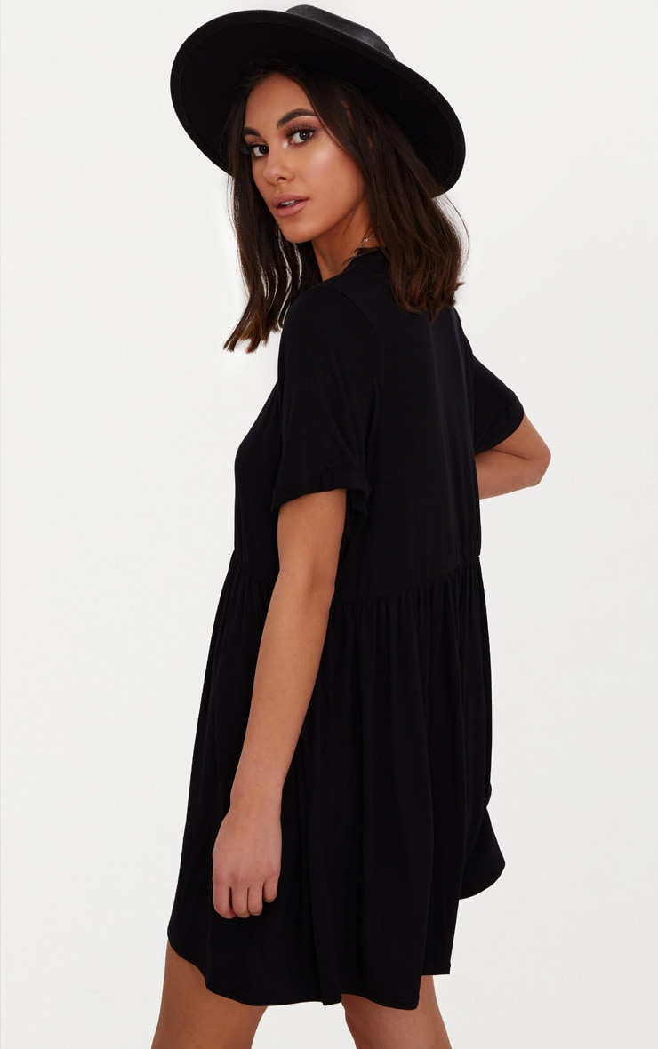 Black Jersey Oversized Smock Dress 2