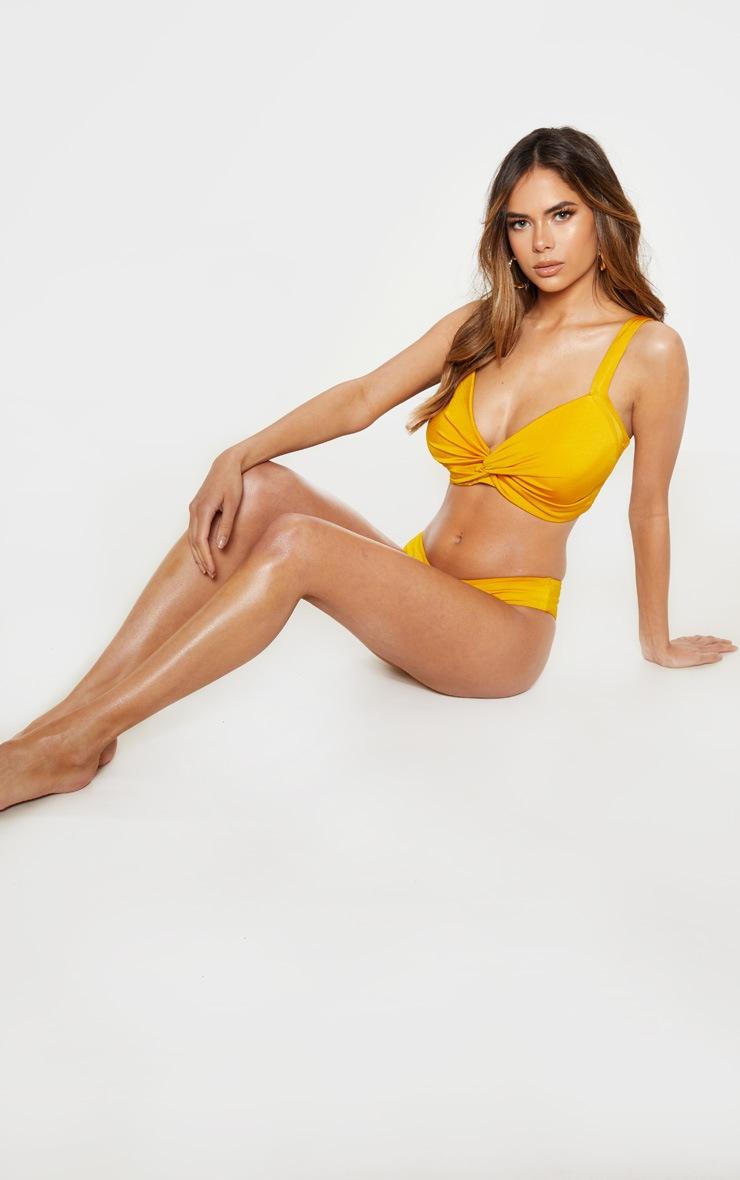 Mustard Fuller Bust Twist Cupped Bikini Top 4