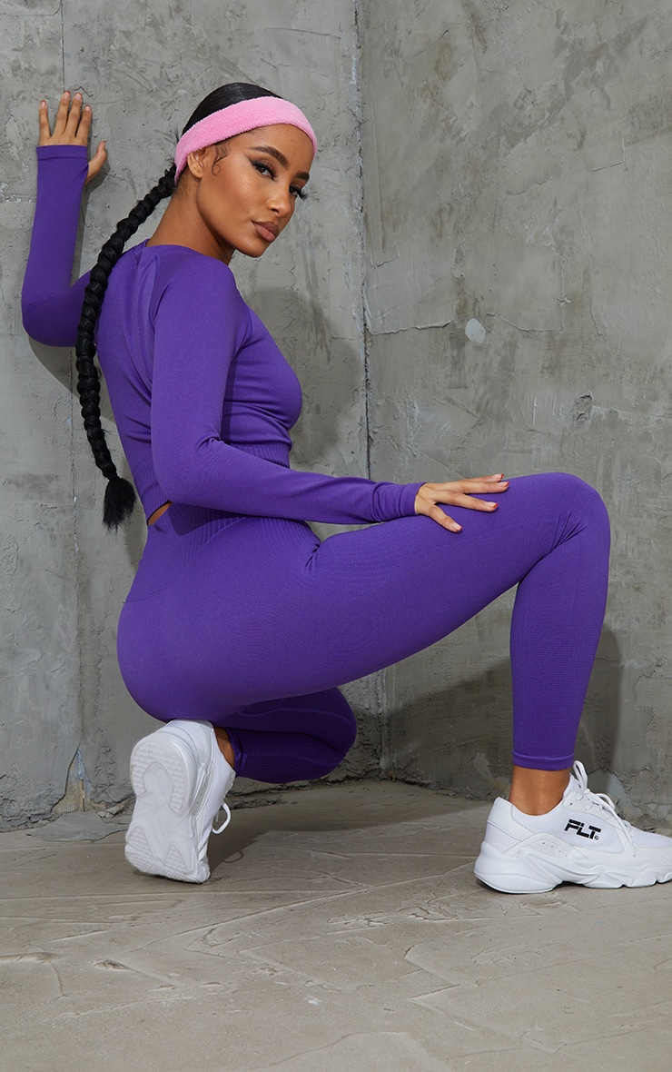 Purple Long Sleeve Seamless Sports Top 2