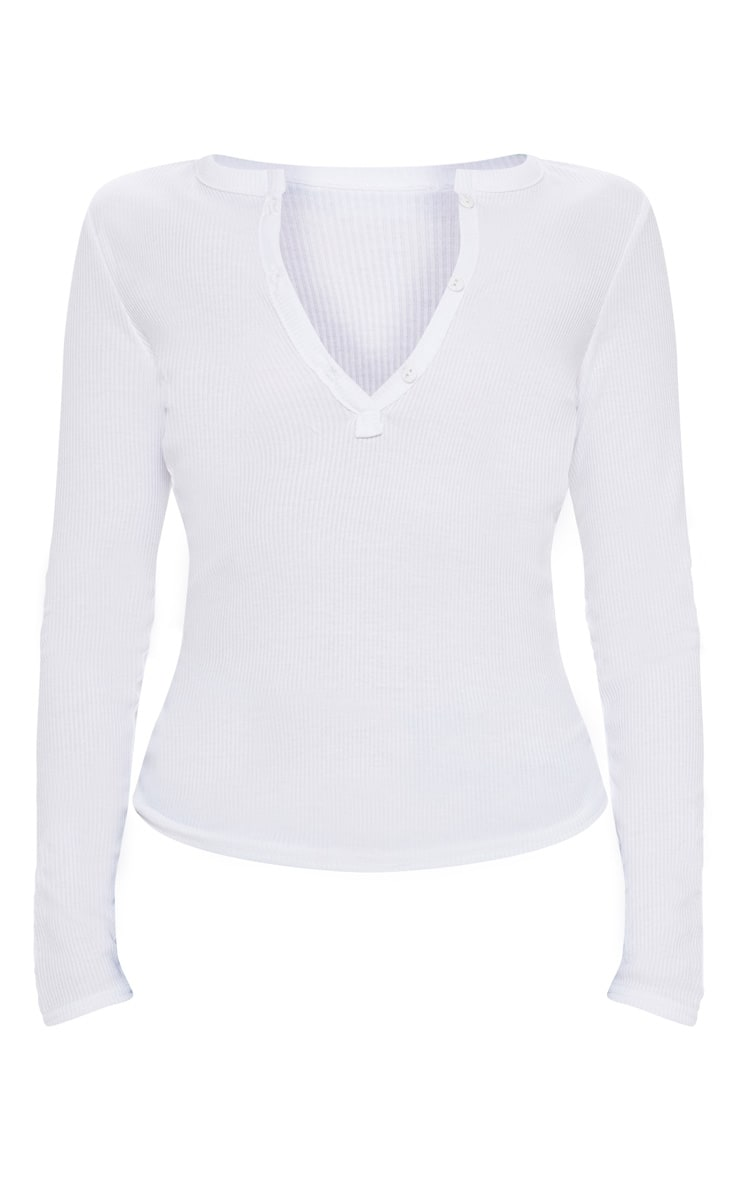 White Long Sleeve Rib Button Top 3