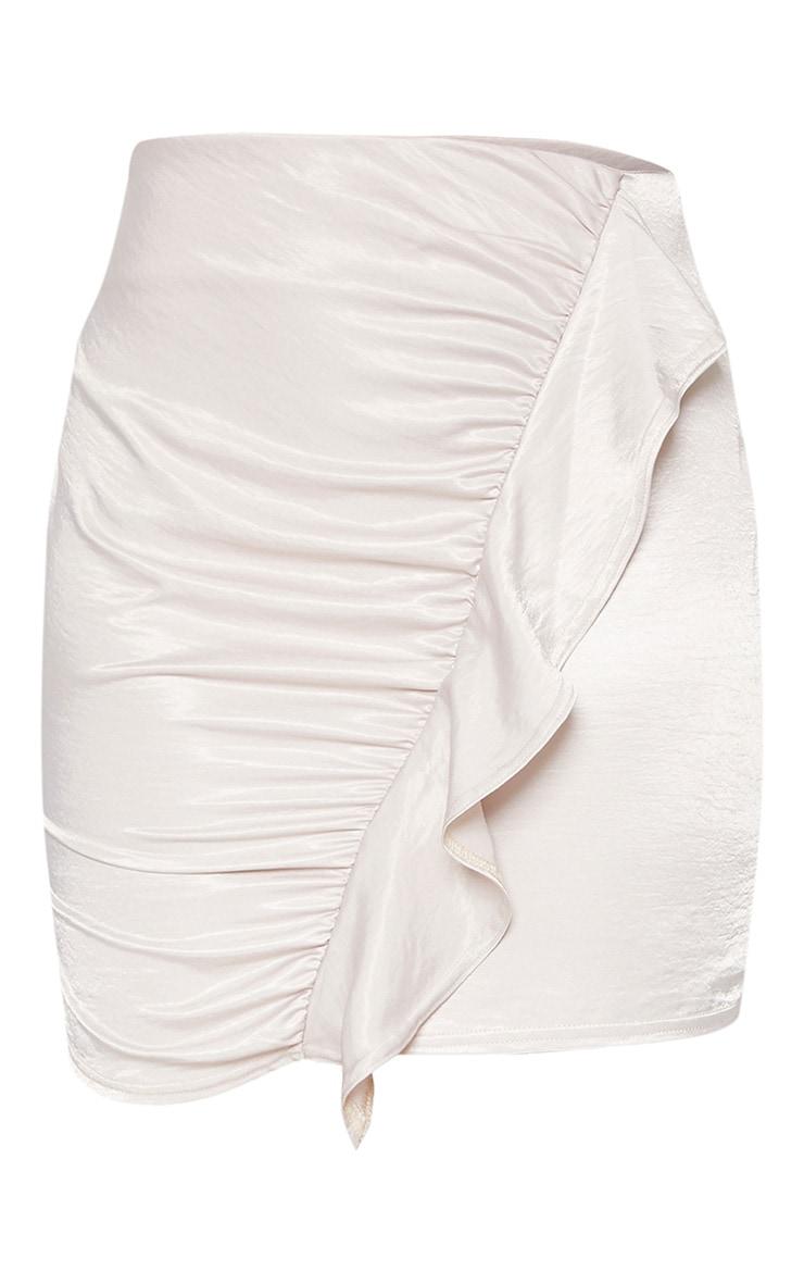 White Satin Frill Detail Mini Skirt 3