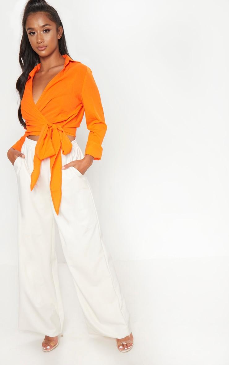 Petite Orange Tie Waist Blouse 4