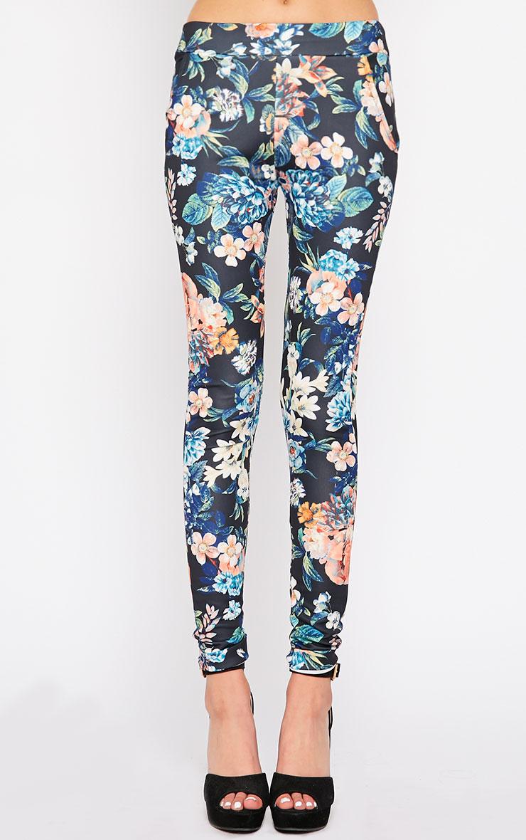 Catey Black Floral Trouser 2