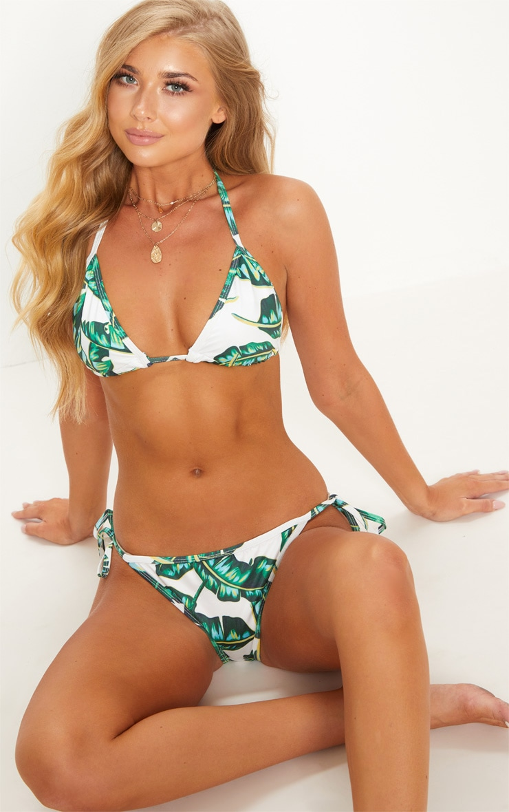 Green Palm Print Tie Side Bikini Bottom image 1