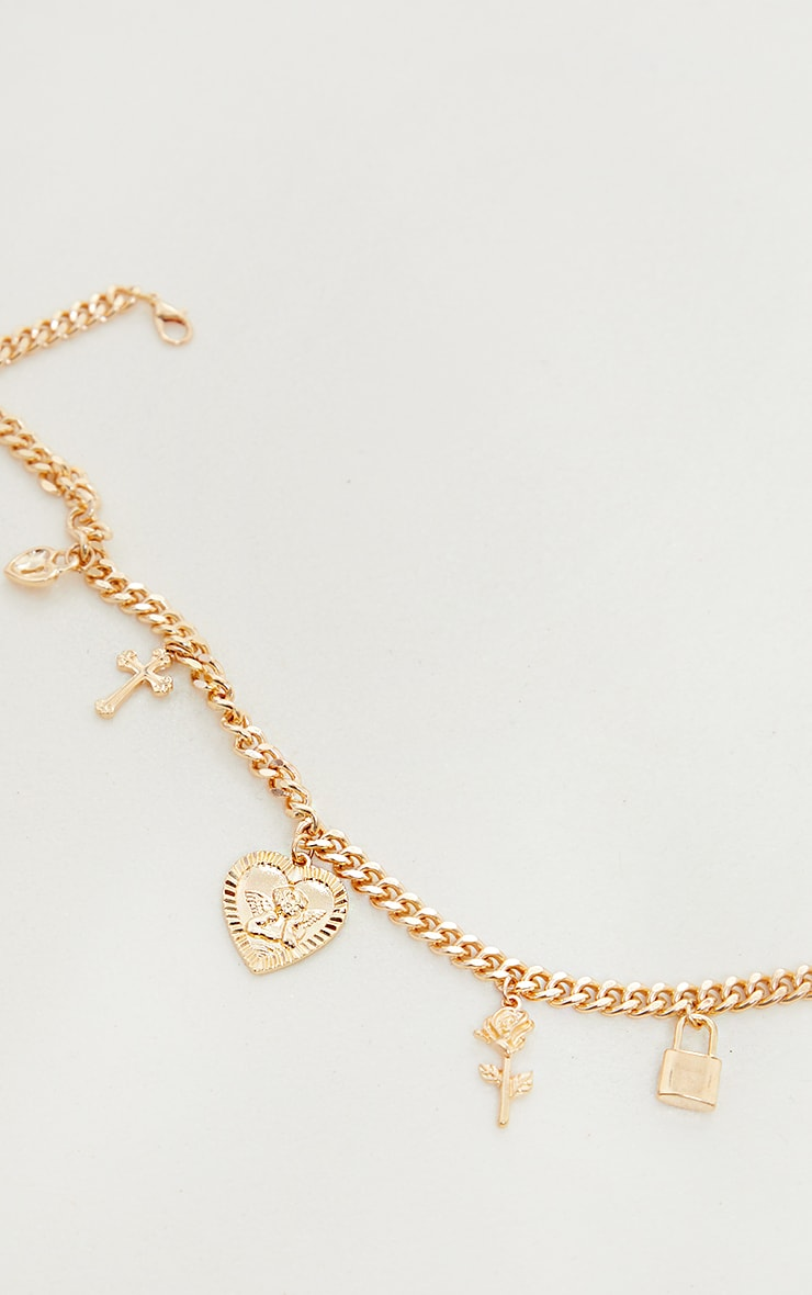 Gold Assorted Pendant Chain Necklace 3