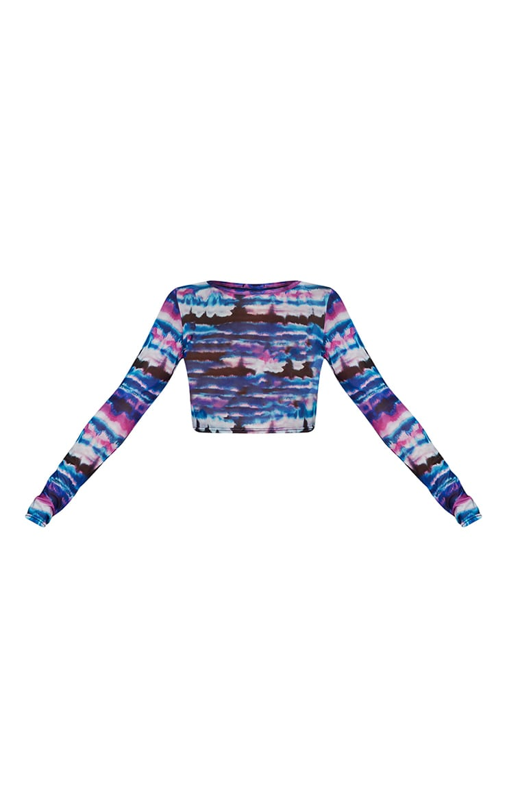 Purple Tie Dye Mesh Long Sleeve Crop Top 5