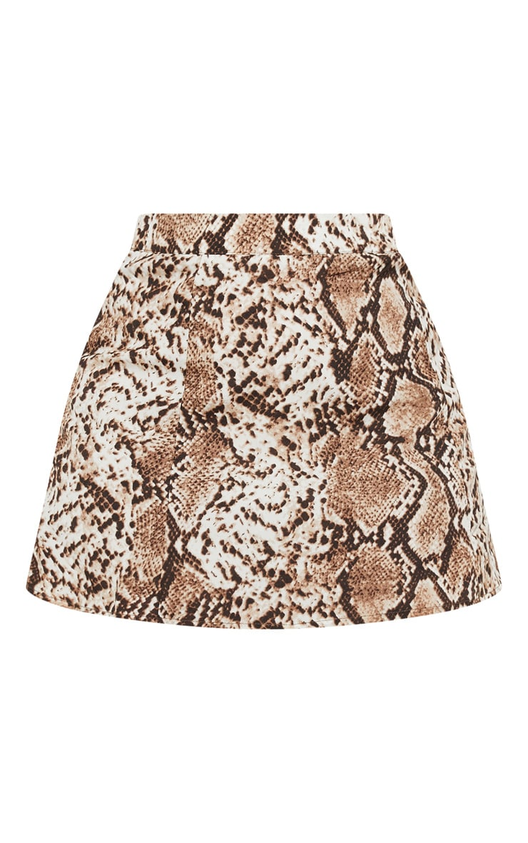 Plus Taupe Snake Print Satin Mini Skirt 3