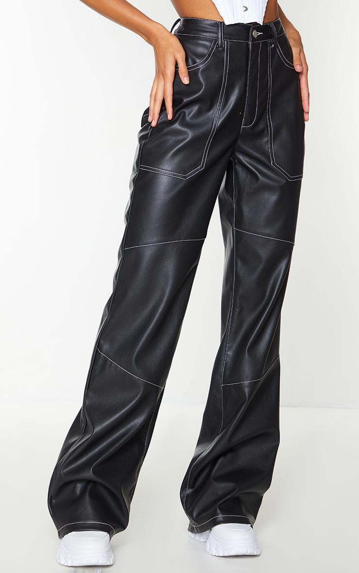 Black Faux Leather Seam Extreme Wide Leg Pants 2