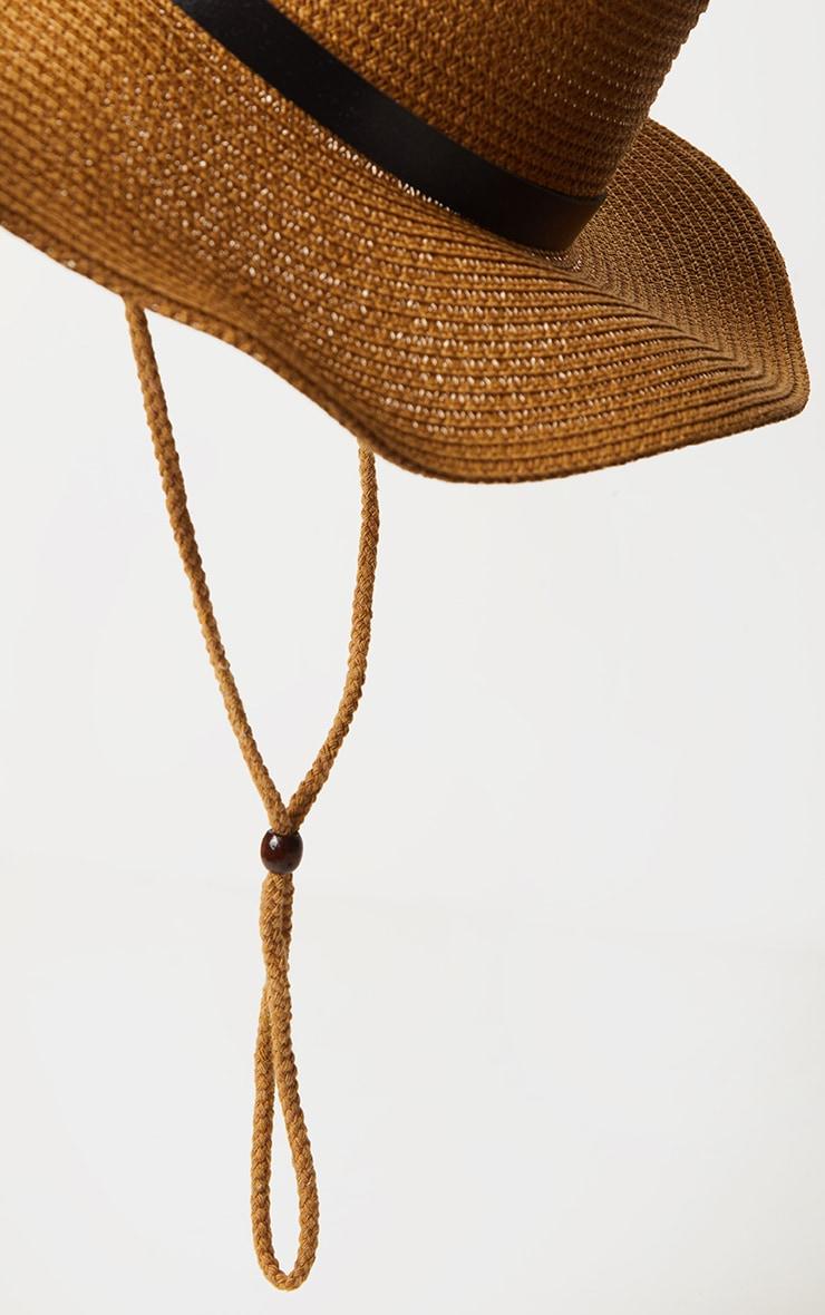 Tan Straw Western Fedora Hat 3