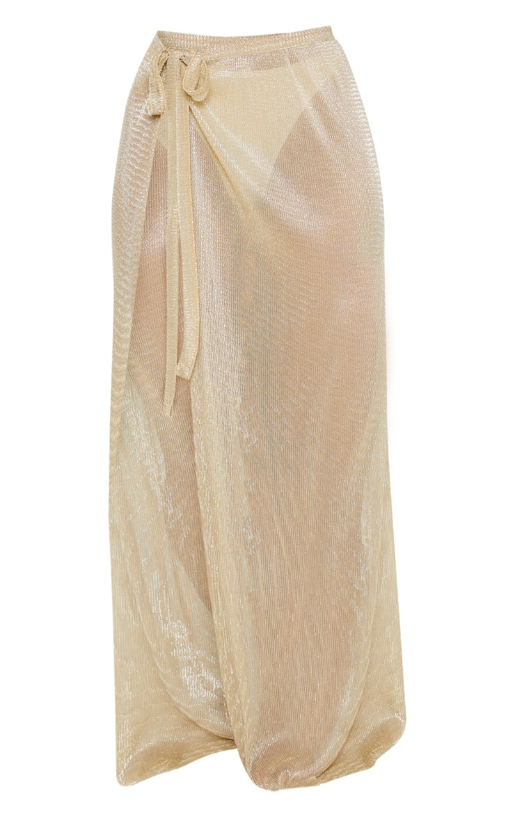 Gold Metallic Plisse Beach Sarong 3