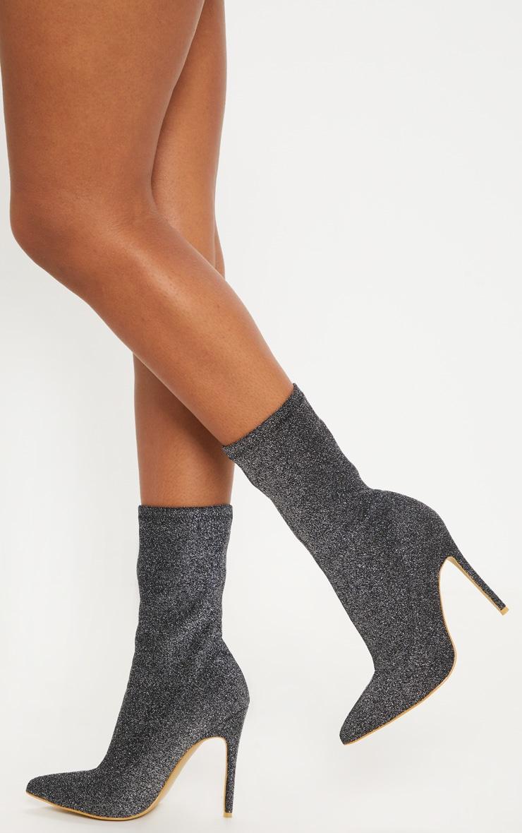 classique homme ramassé Bottines-chaussettes en lurex argenté