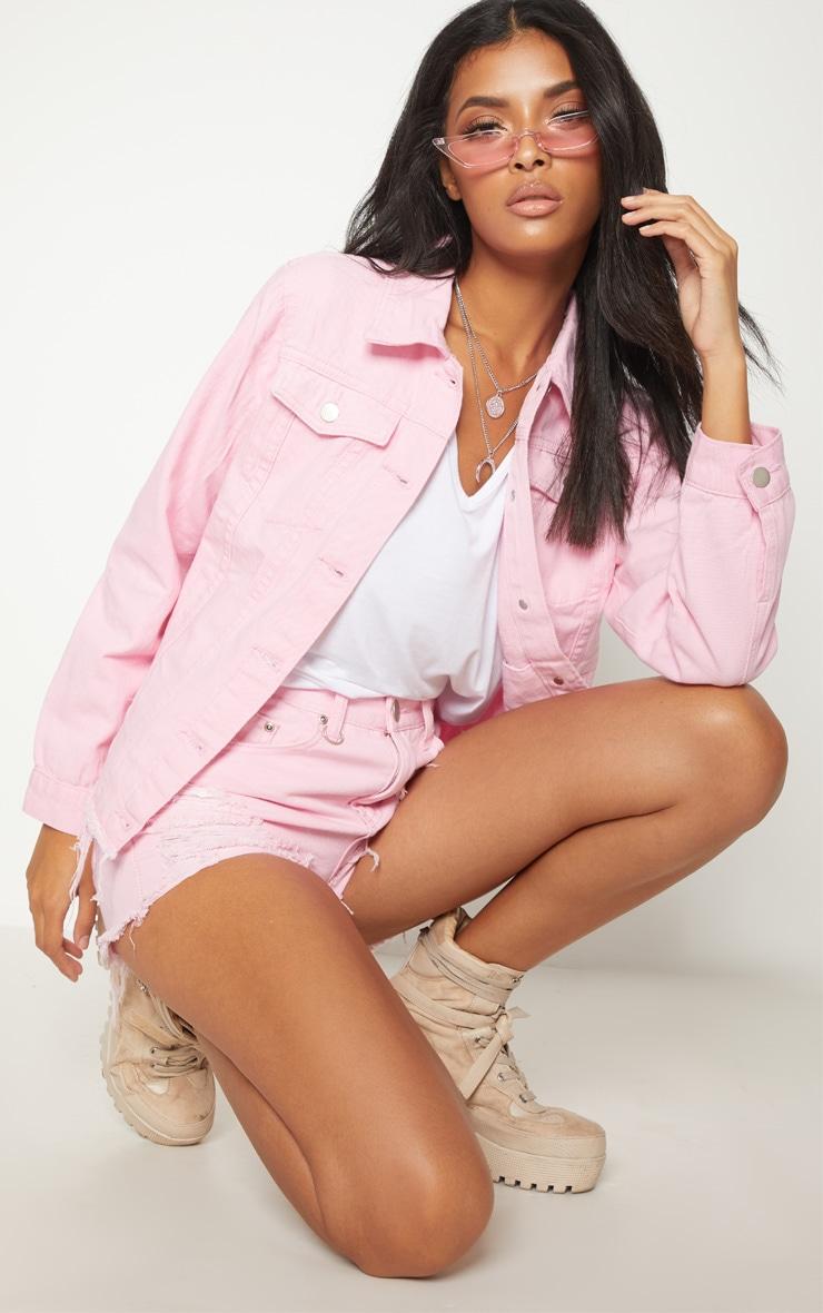 Pink Abegaila Oversized Denim Jacket 1