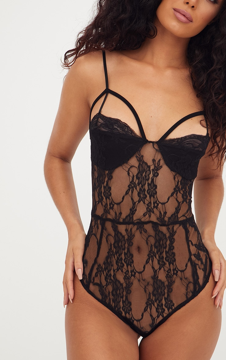 Black Strappy Cupped Lace Bodysuit 5