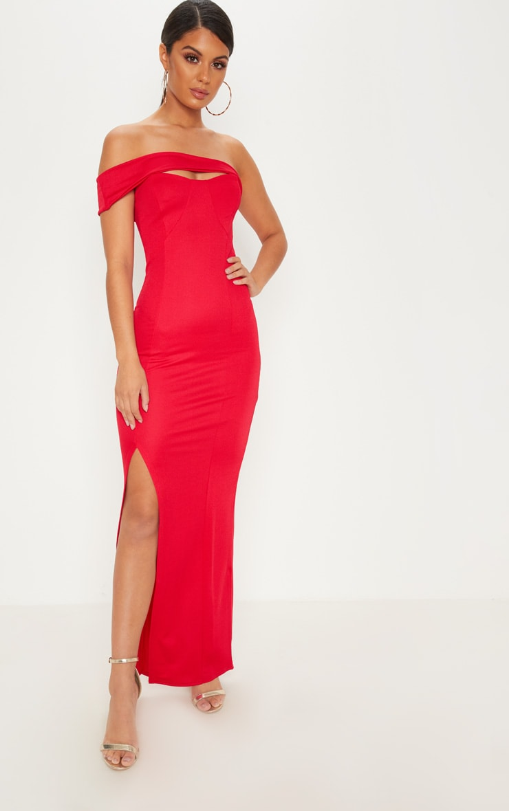 Red Cross Strap Detail Maxi Dress