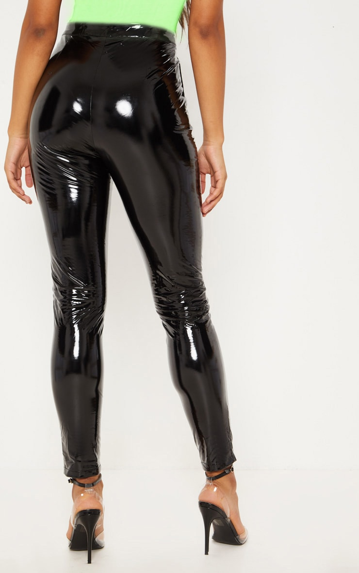 Tall Black Vinyl Slim Leg Pants 5