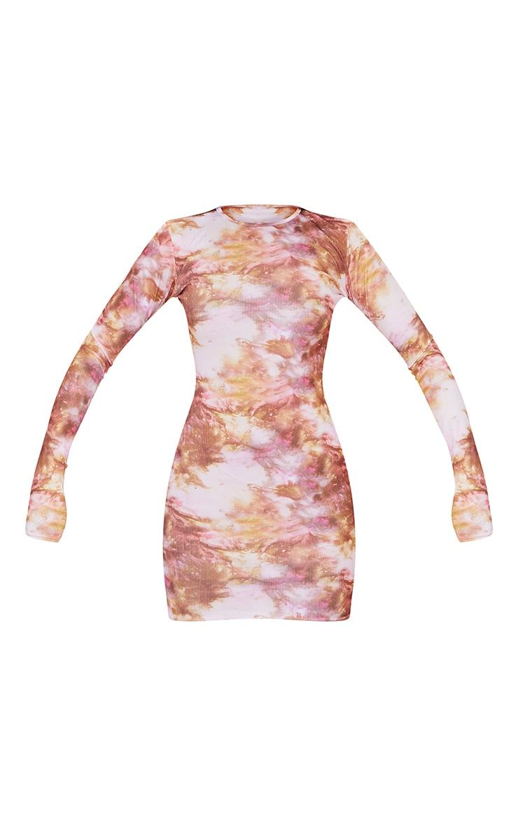 Multi Tie Dye Ribbed Long Sleeve Bodycon Dress 5
