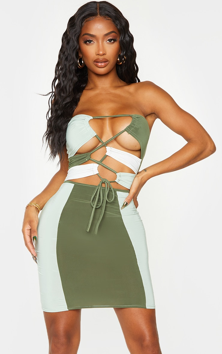 Shape Sage Green Slinky Colour Block Cut Out Bandeau Bodycon Dress