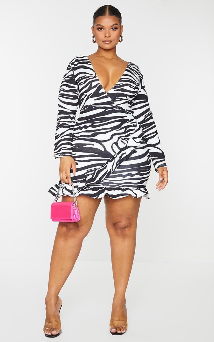Plus White Zebra Print Ruffle Detail Wrap Dress 1