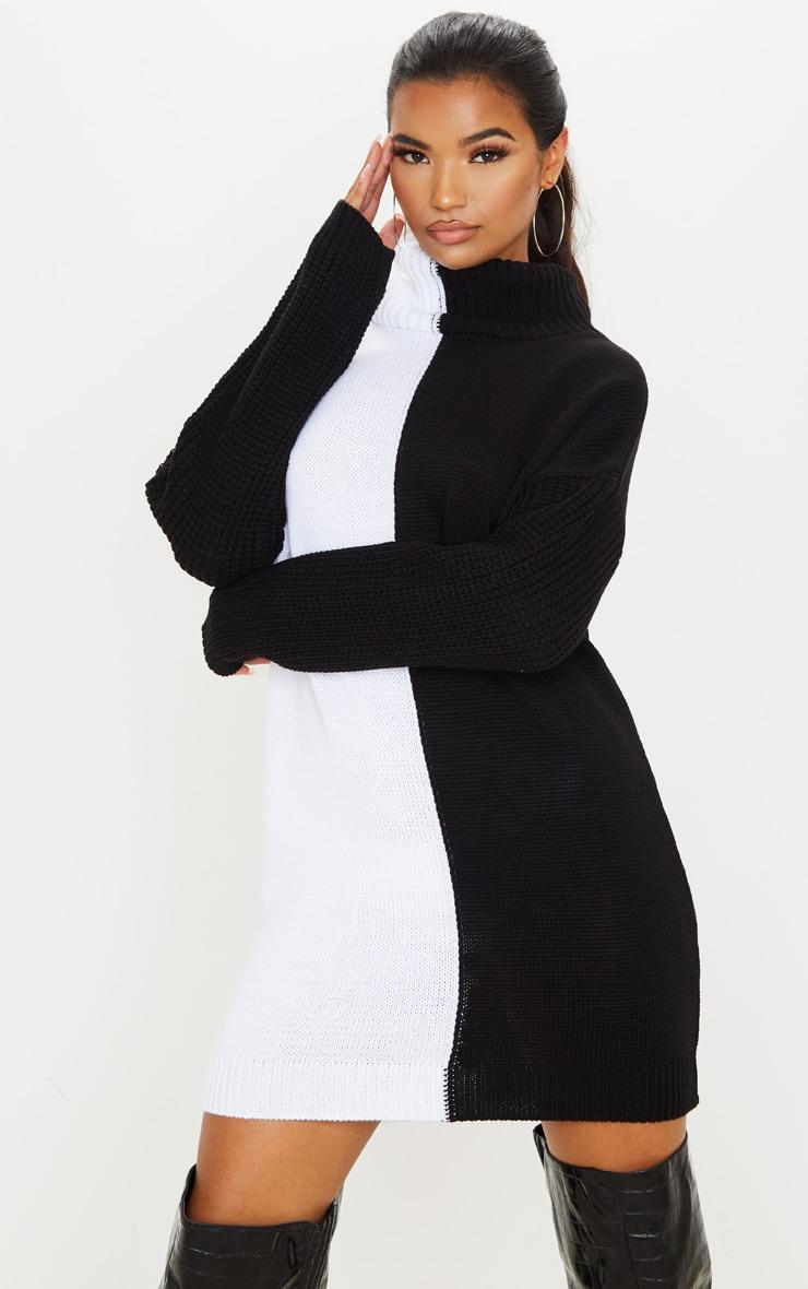 Black/White Color Block Roll Neck Sweater Dress 1