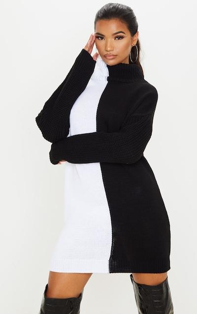 Black/White Colour Block Roll Neck Jumper Dress