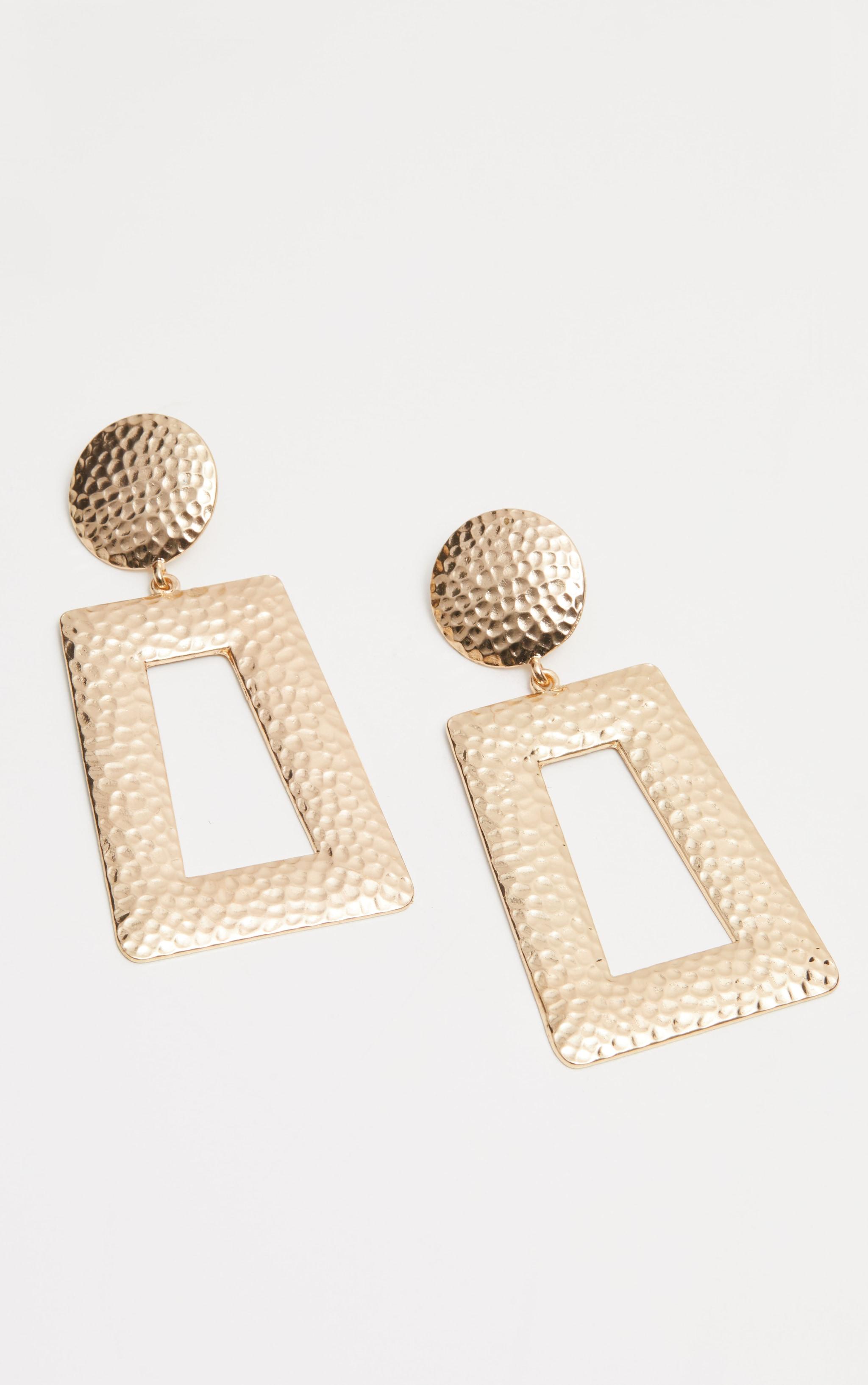 Gold Hammered Oversized Earrings 2