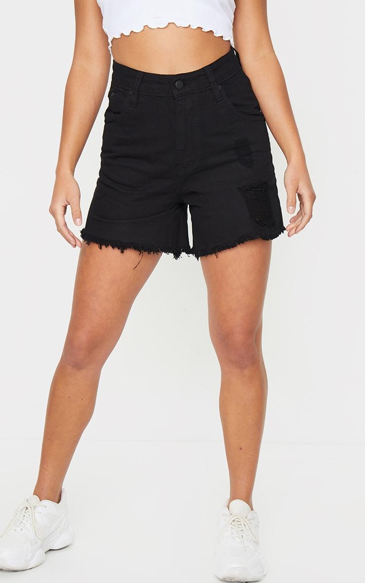 Petite Black Frayed Hem Distressed Denim Shorts 2
