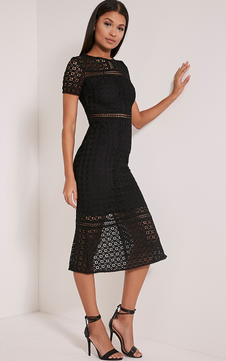 Midira Black Crochet Lace Midi Dress 2