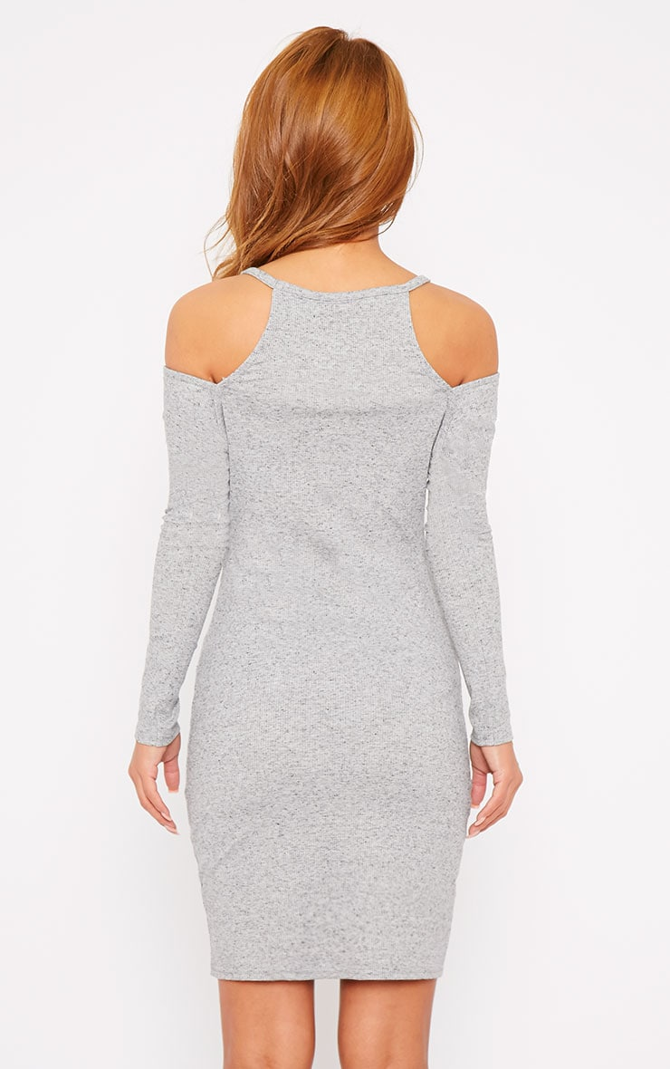 Geri Grey Ribbed Cut Out Shoulder Mini Dress 2