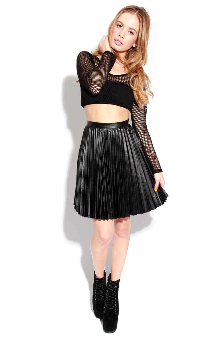 Black Wet Look Pleated Skater Skirt 2
