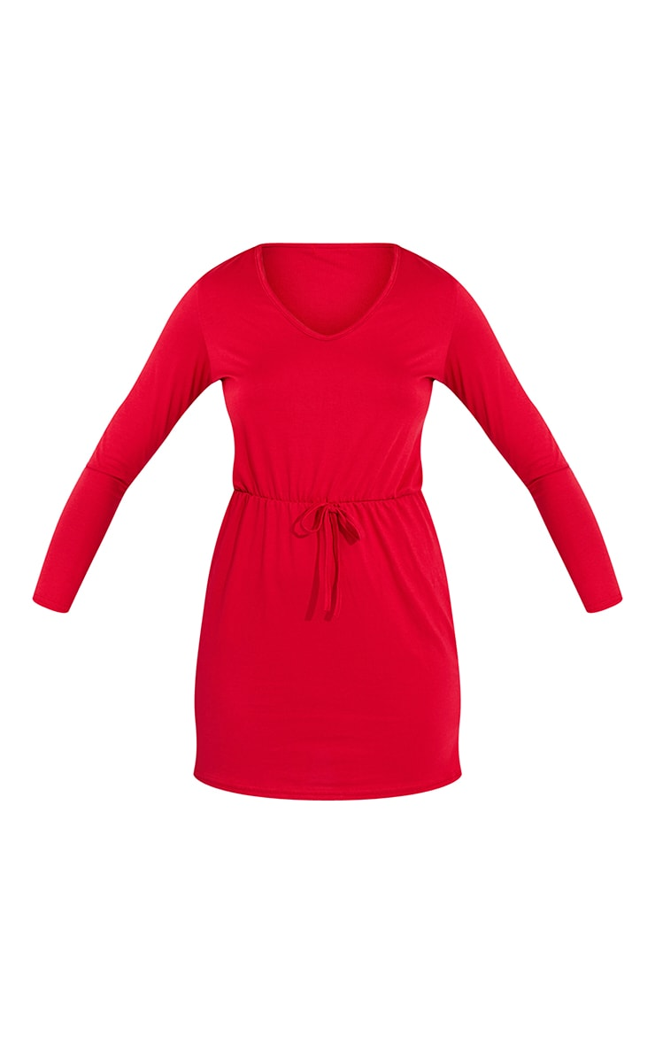 Red Tie Waist Detail Long Sleeve Bodycon Dress 5