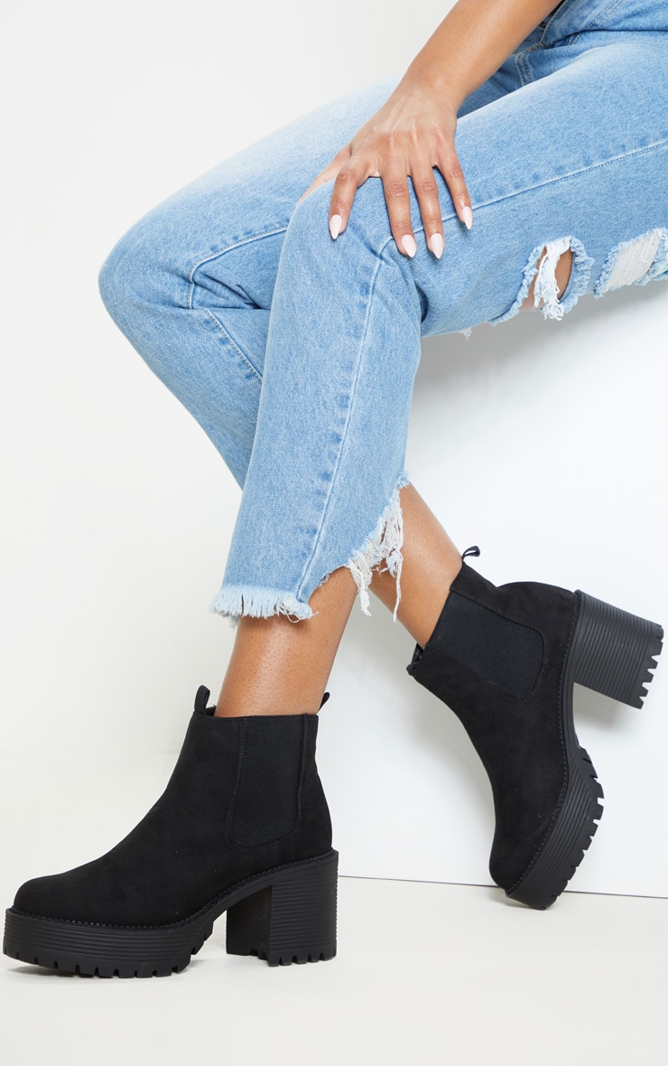 Black Micro Chunky Cleated Chelsea Ankle Boot 1