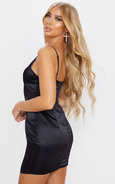 Black Satin Lace Insert Cup Detail Bodycon Dress