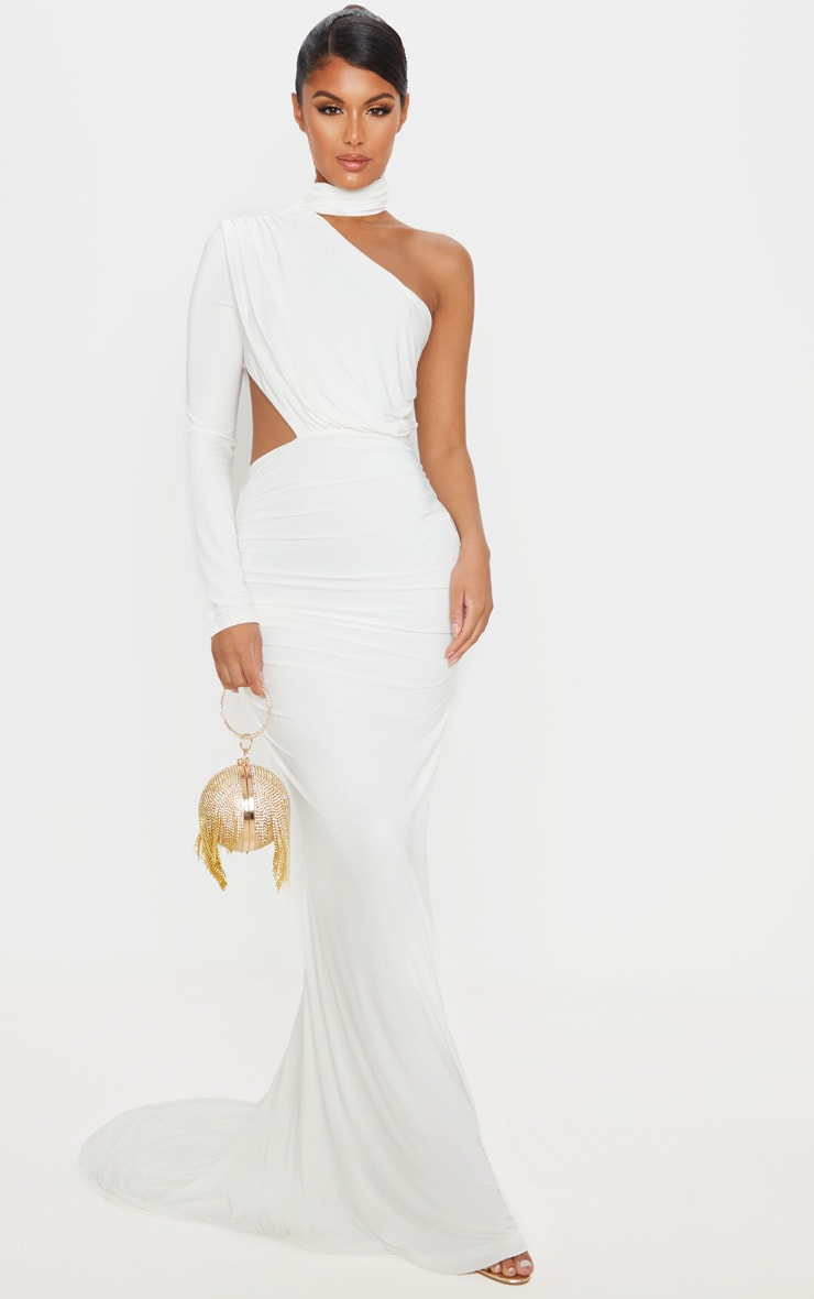 White Ruched One Shoulder Maxi Dress 1