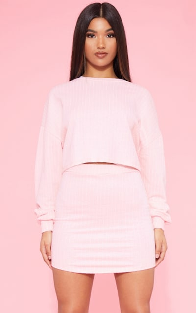 f25272adb53 RECYCLED Blush Pinstripe Crop Sweater