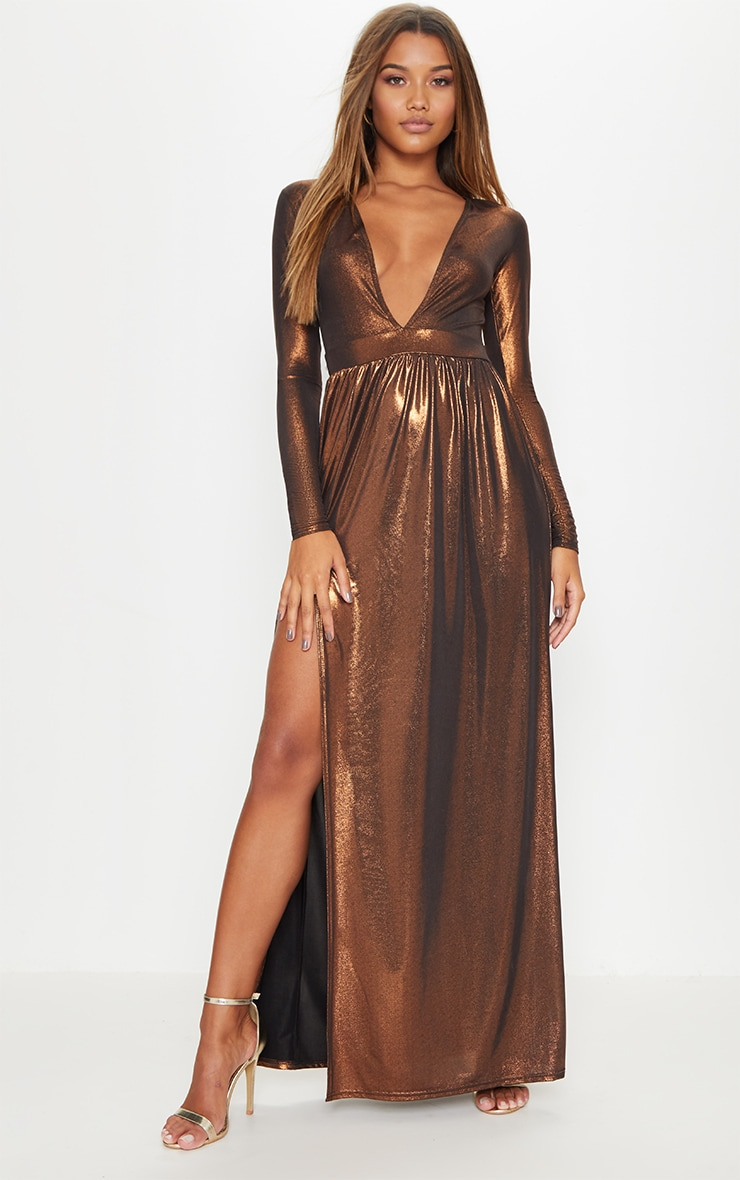 Bronze Metallic Plunge Long Sleeve Maxi Dress