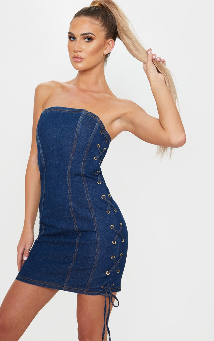 Mid Wash Denim Bandeau Lace Up Detail Bodycon Dress 1