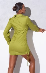 RENEW Olive Ruched Side Fitted Shirt Dress 2