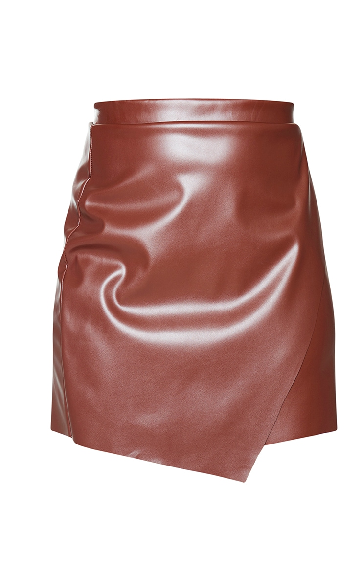 Chocolate Faux Leather Wrap Mini Skirt 6
